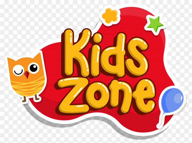 Kids zone text, kids section style editable text effect on transparent background PNG