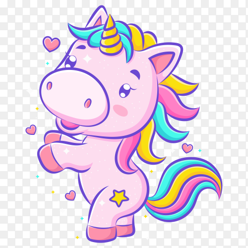 Little cute unicorn dance and smile on transparent background PNG