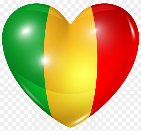 Mali flag in heart shape on transparent background PNG