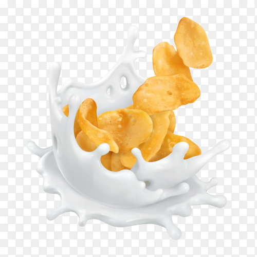 Milk splash and corn flakes on transparent background PNG