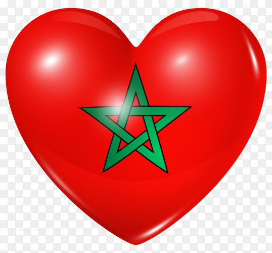 Morocco flag in heart shape on transparent background PNG