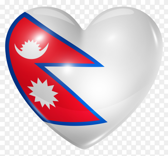 Nepal flag in heart shape on transparent background PNG