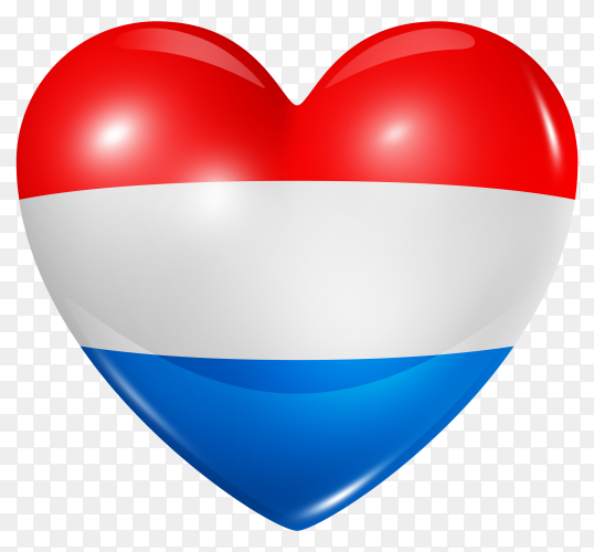 Netherlands flag in heart shape on  background PNG