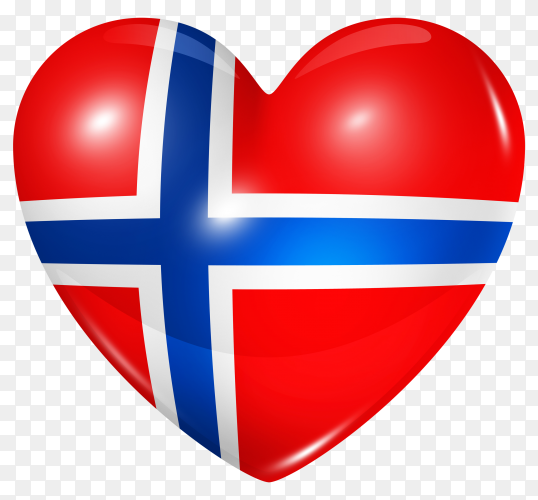 Norway flag in heart shape on transparent background PNG