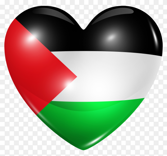 Palestine flag in heart shape on transparent background PNG