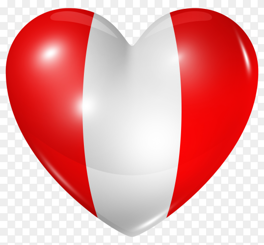 Peru flag in heart shape on transparent background PNG