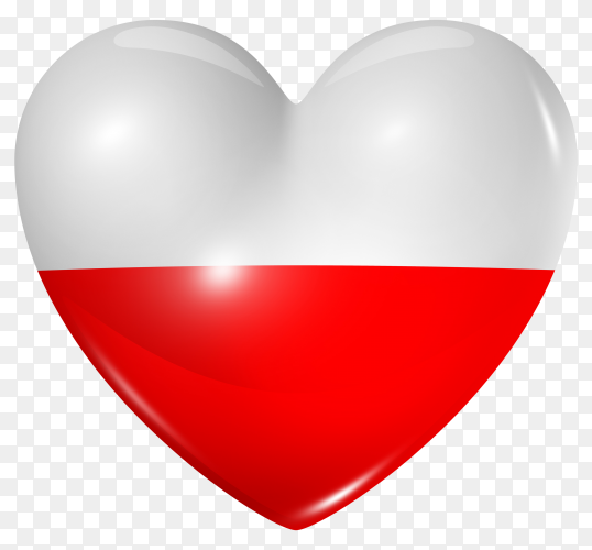 Poland flag in heart shape on transparent background PNG
