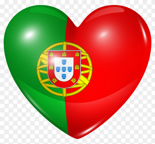 Portugal flag in heart shape on transparent background PNG