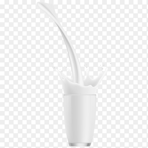 Realistic glasses with pour milk splash on transparent background PNG