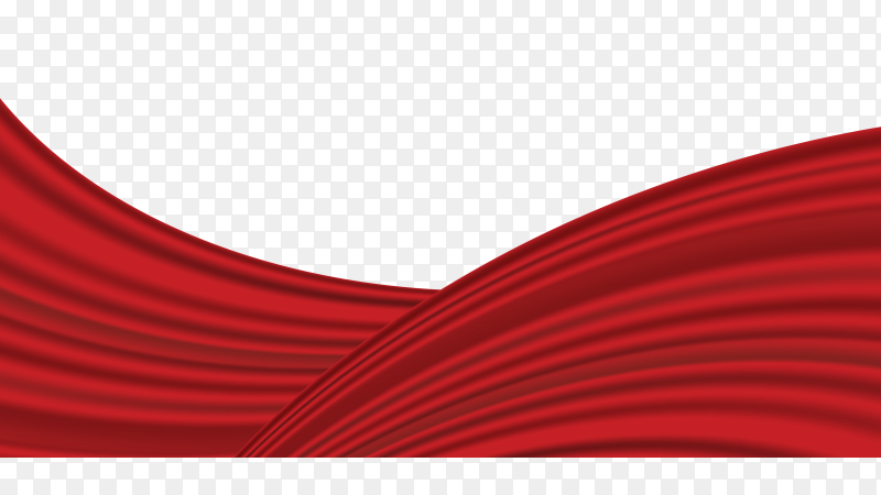 Red wave silk satin fabric for grand opening ceremony on transparent background PNG