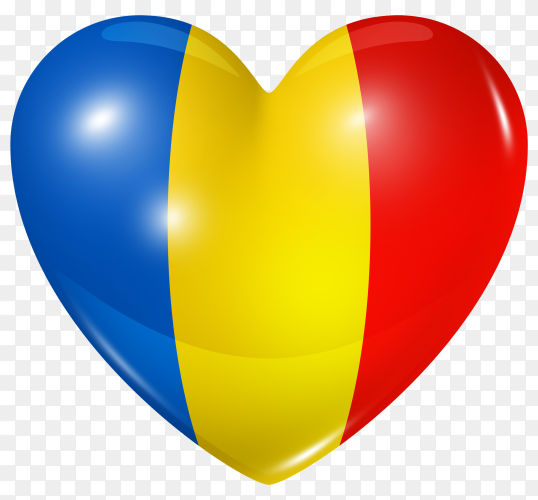 Romania flag in heart shape on transparent background PNG