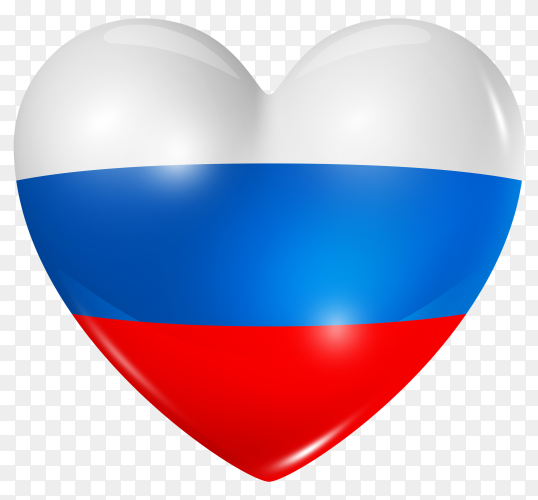 Russia flag in heart shape on transparent background PNG