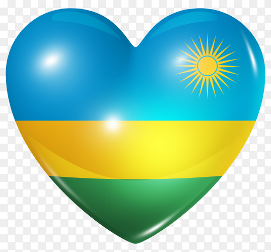 Rwanda flag in heart shape on transparent background PNG