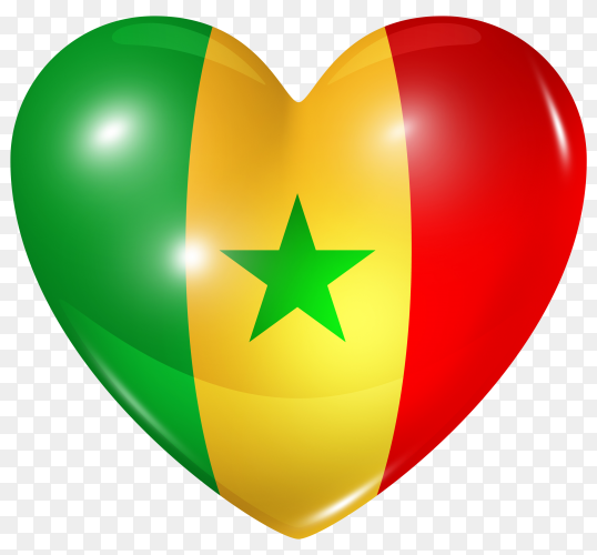 Senegal flag in heart shape on transparent background PNG