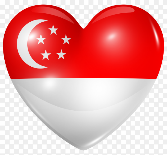 Singapore flag in heart shape on transparent background PNG