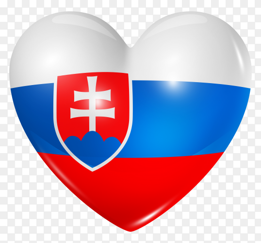Slovakia flag in heart shape on transparent background PNG
