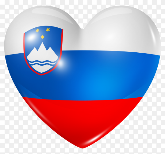 Slovenia flag in heart shape on transparent background PNG
