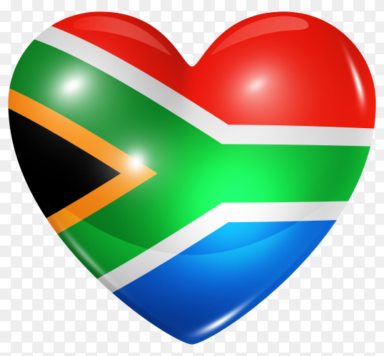 South africa flag in heart shape on transparent background PNG