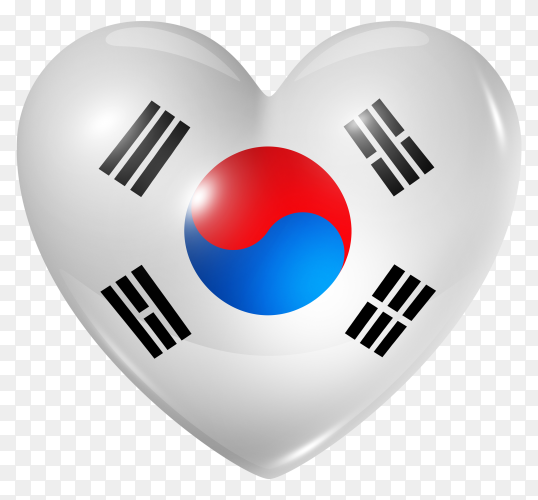 South korea flag in heart shape on transparent background PNG