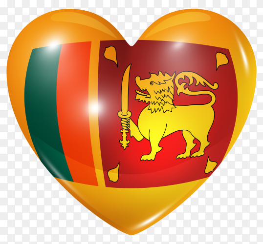 Sri Lanka flag in heart shape on transparent background PNG