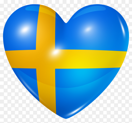 Sweden flag in heart shape on transparent background PNG