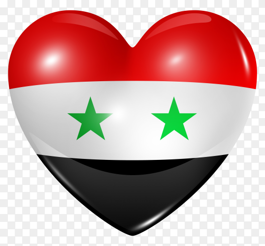 Syria flag in heart shape on transparent background PNG