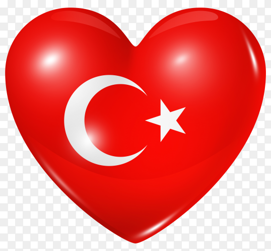Turkey flag in heart shape on transparent background PNG