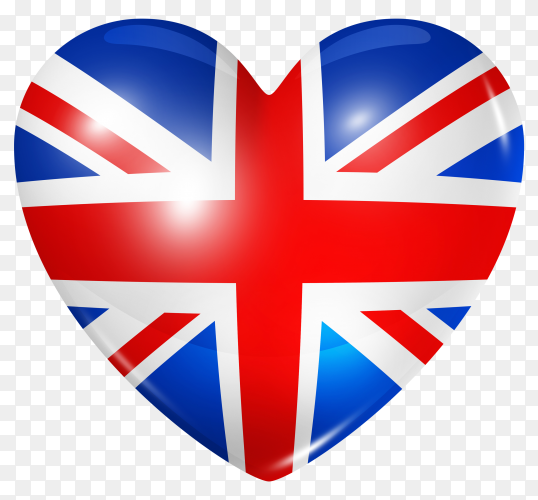 United kingdom flag in heart shape on transparent background PNG