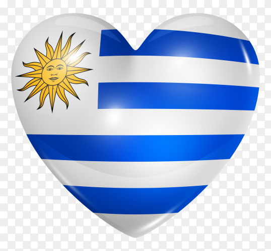 Uruguay flag in heart shape on transparent background PNG