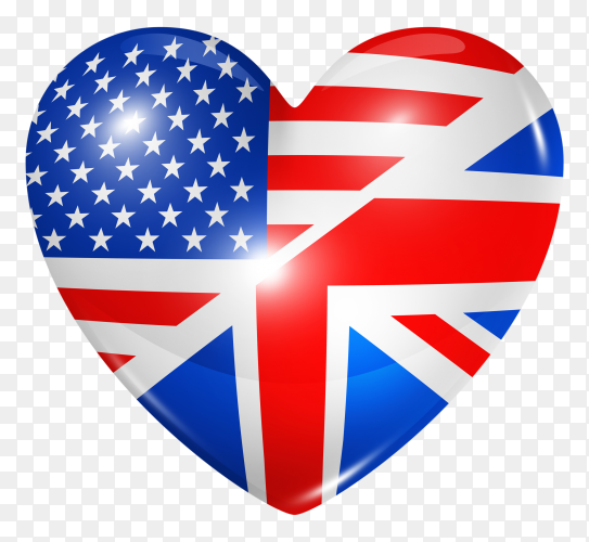 USA flag in heart shape on transparent background PNG