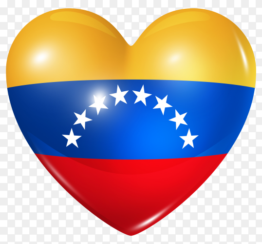 Venezuela flag in heart shape on transparent background PNG