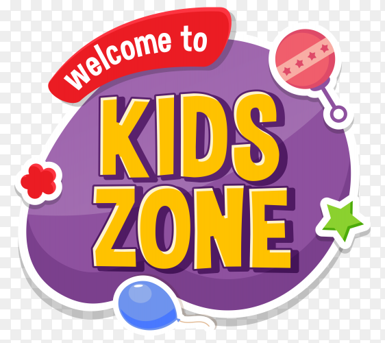 kids zone children entertainment cartoons on transparent background PNG