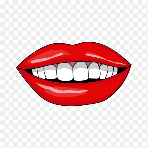 Beautiful smiling Lips on transparent PNG