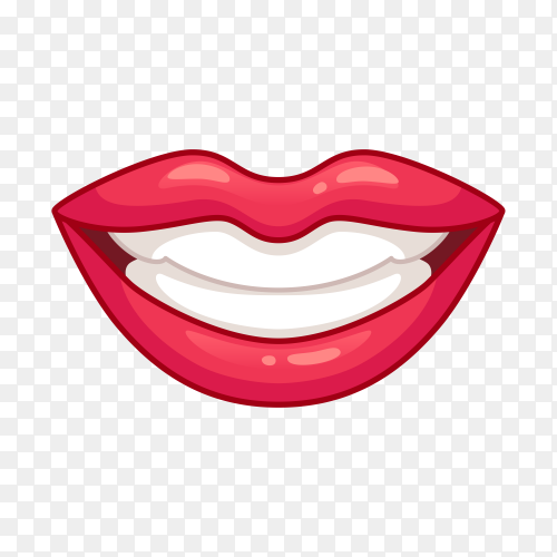 Beautiful smiling Lips on transparent background PNG