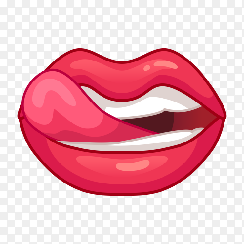 Female mouth with red lips and tongue on transparent background PNG