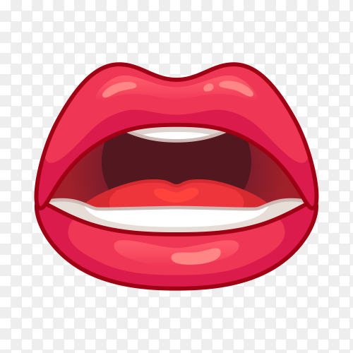 Female red lips illustration on transparent PNG