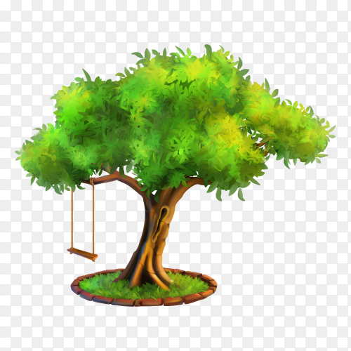 Hand drawn tree illustration on transparent background PNG