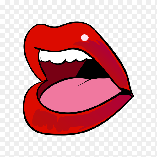 Illustration female mouth and lips on transparent background PNG
