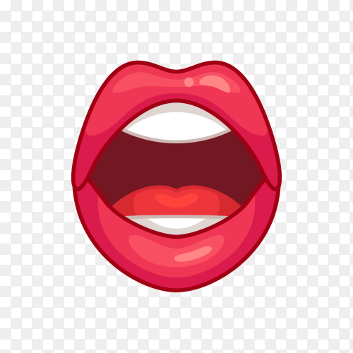 Open mouth with red lips Premium Vector PNG