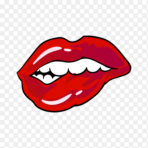 Open mouth with red lips biting on transparent background PNG