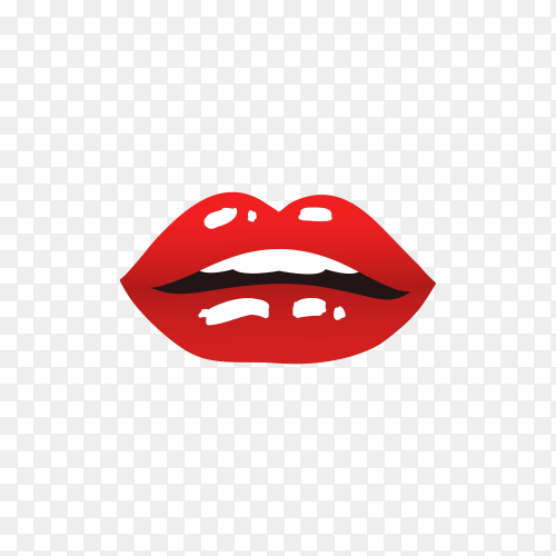 Realistic female lips illustration on transparent background PNG
