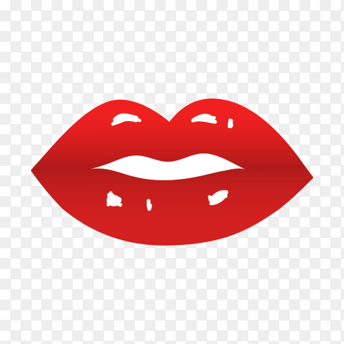Realistic lips illustration on transparent background PNG
