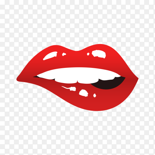 Red lips biting on transparent background PNG