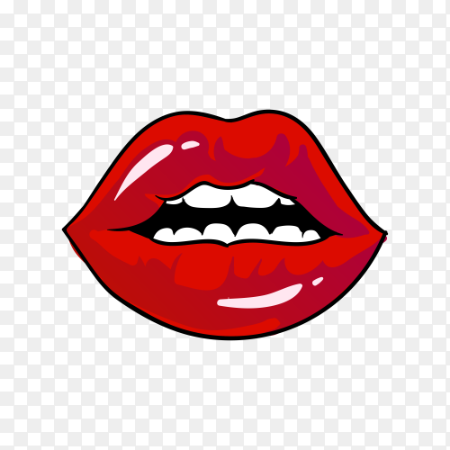 Red lips kiss. flat style mouth and lips on transparent background PNG