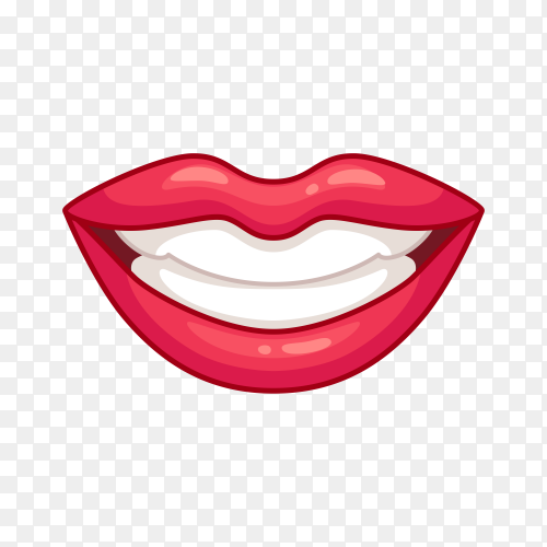 Smile cartoon lips on transparent background PNG