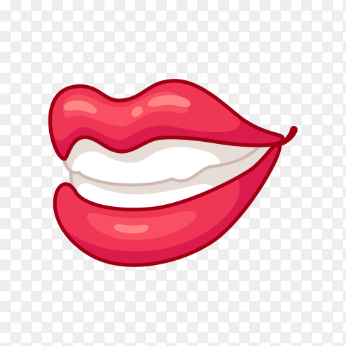 Smile cartoon lips premium vector PNG