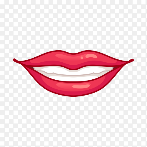 Smiling mouth with red lips on transparent background PNG