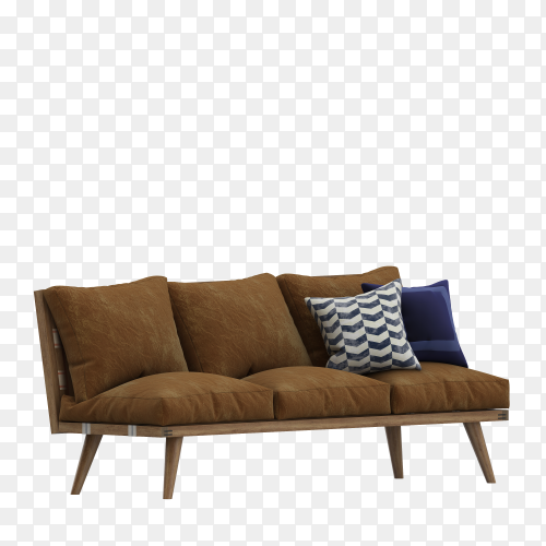 3D Modern Brown fabric sofa with legs and pillows on transparent background PNG