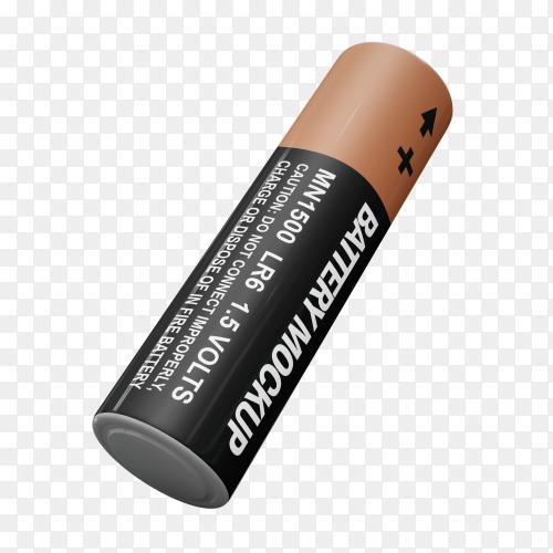 3D battery illustration on transparent background PNG