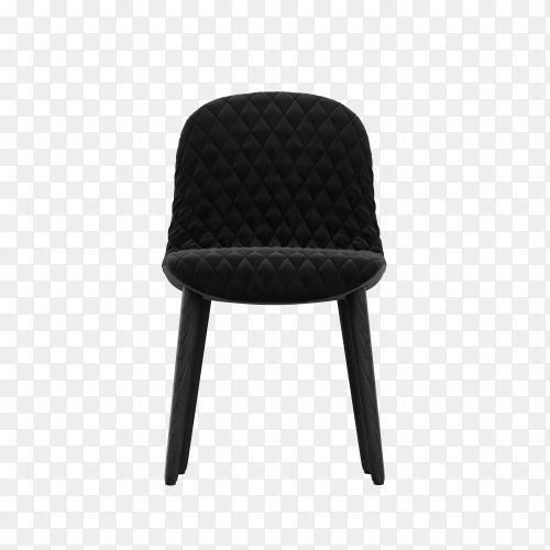 3D black modern chair on transparent background PNG